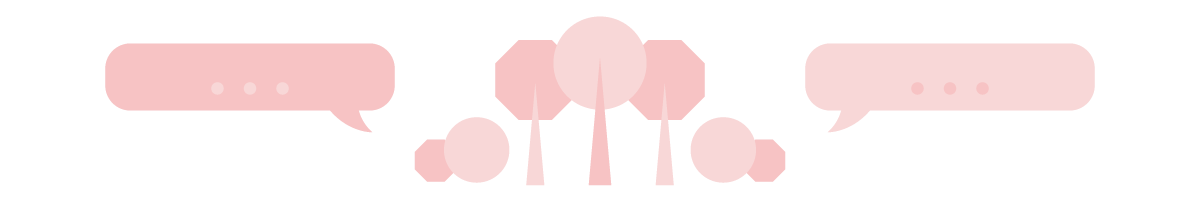 Illustration of trees, speech bubbles, and bushes