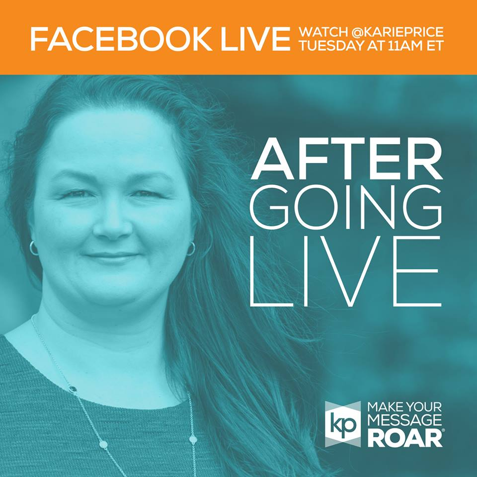 Photo of Karie Price promoting Facebook Live