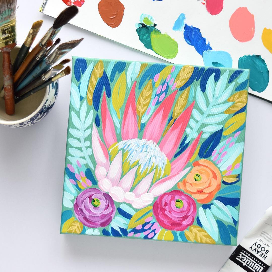 Small painting to bright florals