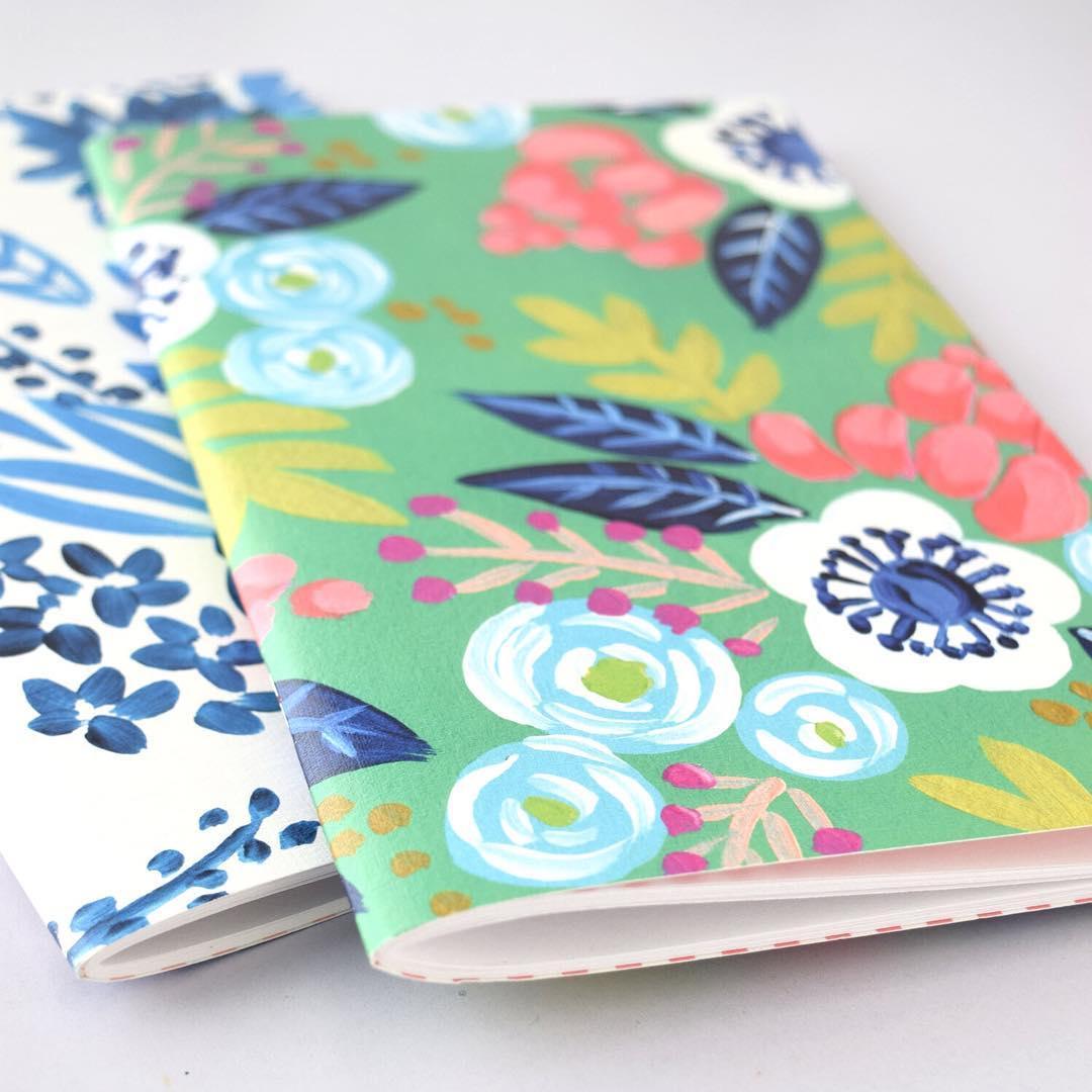 Floral print notebooks