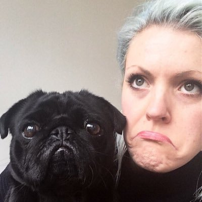 Photo of Holly Exley and her pug, Quentin