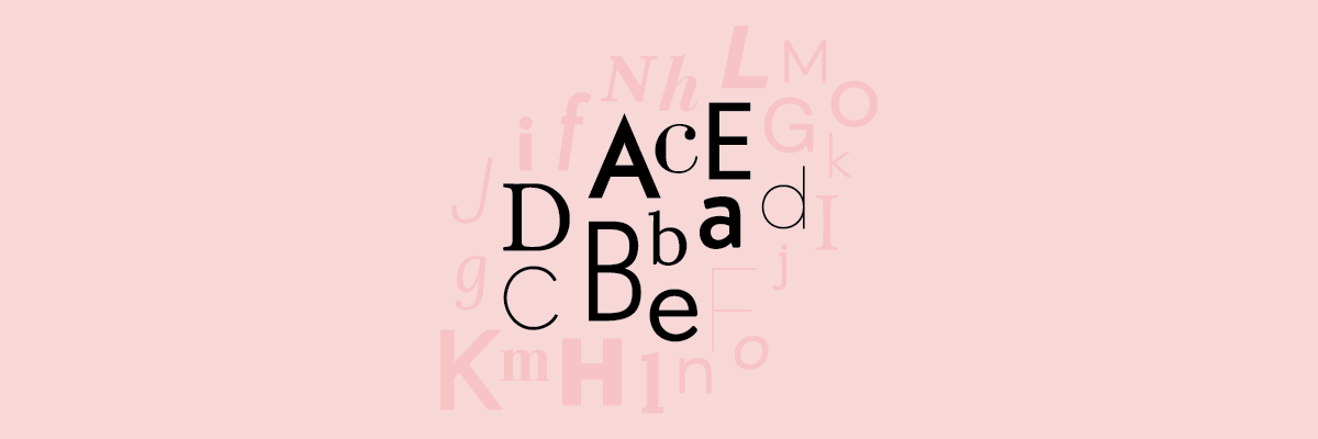Black and pink letters in different fonts