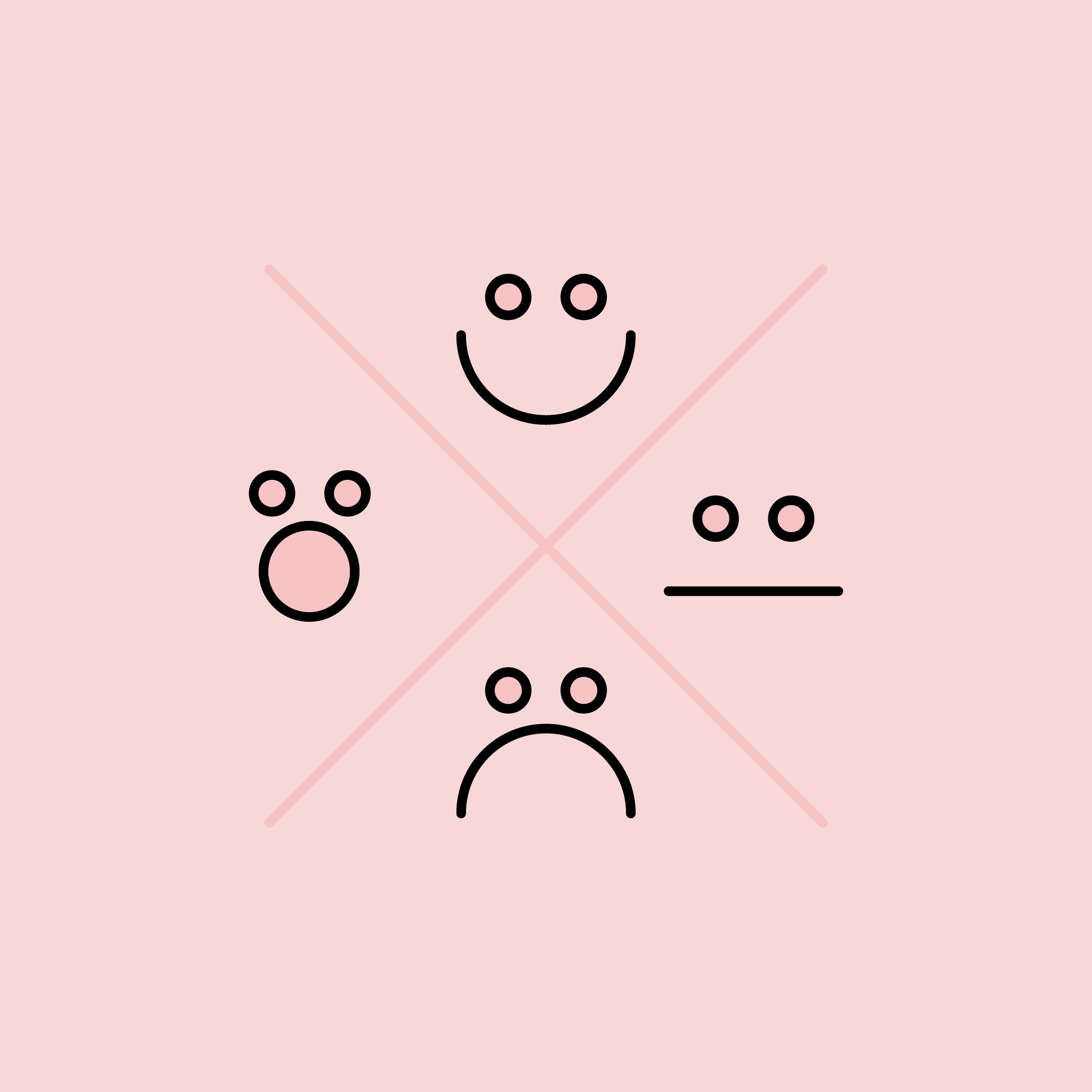 Illustration of smiley faces with different expressions