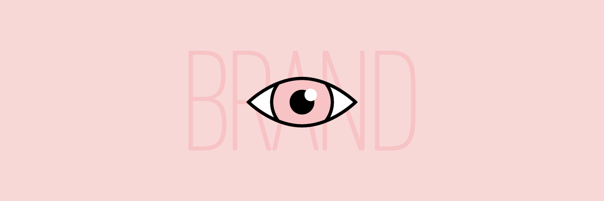 """Illustration of an eye over the word """"brand"""""""