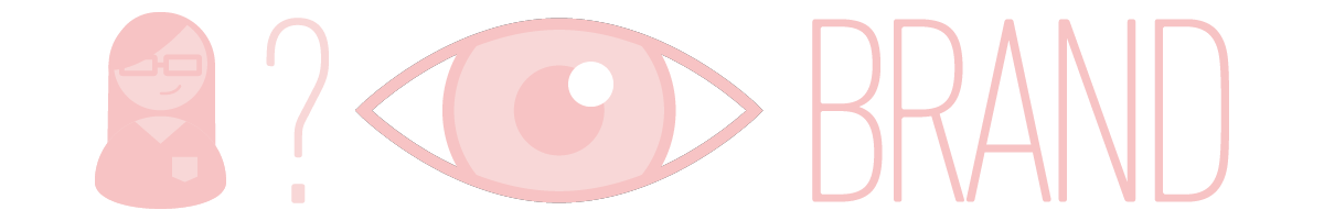 """Illustration of a woman, question mark, eye, and the word """"brand"""""""