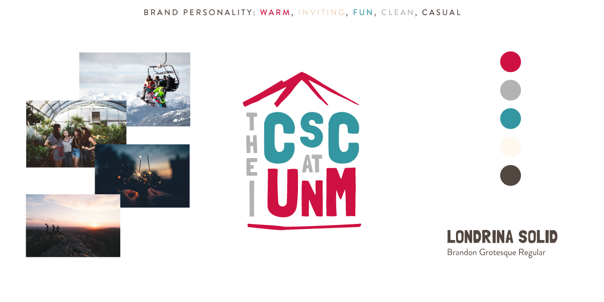 visual branding board for the csc at unm