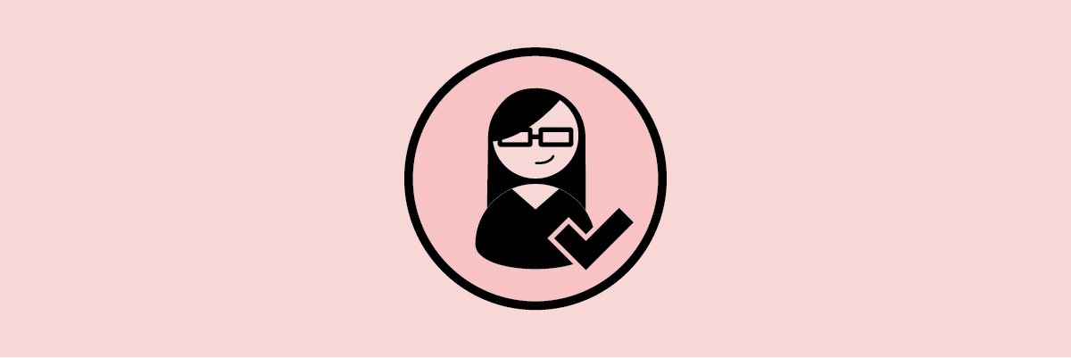 Illustration of a woman with glasses next to a checkmark