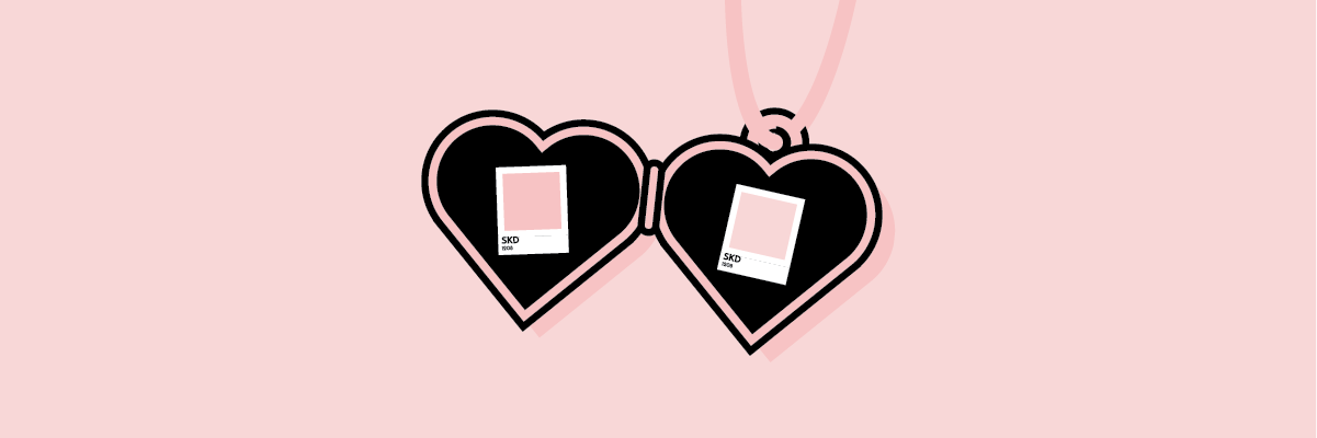 Illustration of color swatches in a heart locket