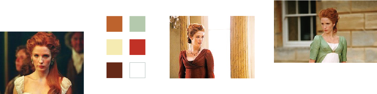 Shots of Caroline Bingley and a six color palette
