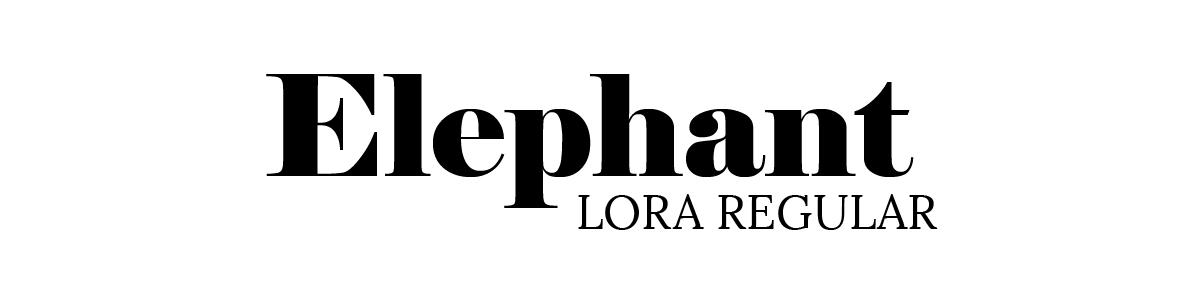 Elephant font and Lora Regular font
