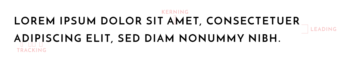 A diagram labeling kerning, tracking, and leading in lines of text