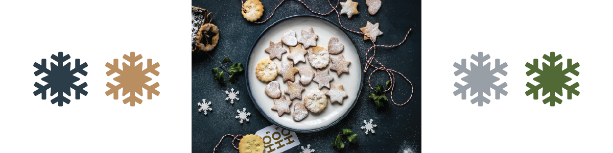 A photo of a plate of cookies on a navy background with associated color palette