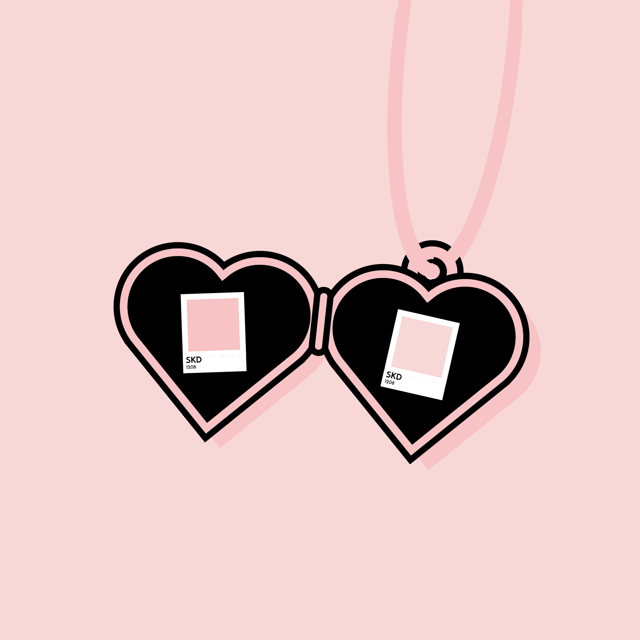 An illustration of color swatches in a heart-shaped locket