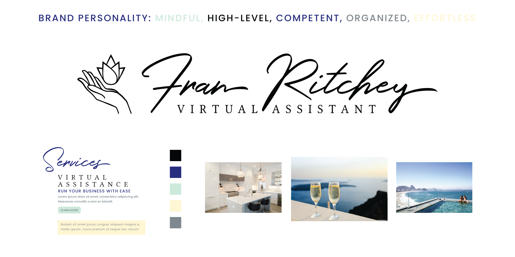 A brand board for a virtual assistant with brand personality, logo, fonts, color palette, and photos