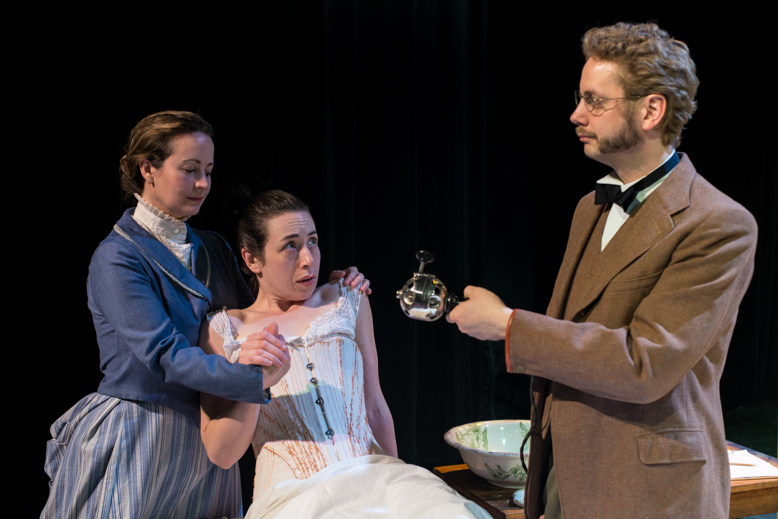 Annie (Michelle LeBlanc), Mrs. Daldry (Sarah Finn), & Dr. Givings (David Whiteley) Photography by A. Alexander
