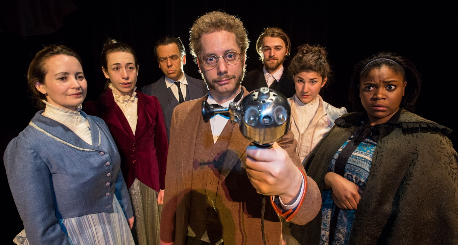 Cast, from left: Annie (Michelle LeBlanc), Mrs. Daldry (Sarah Finn), Mr. Daldry (David Frisch), Dr. Givings (David Whiteley), Leo Irving (Robin Toller), Mrs. Givings (Sascha Cole) and Elizabeth (Dilys Ayafor).  Photography by A. Alexander