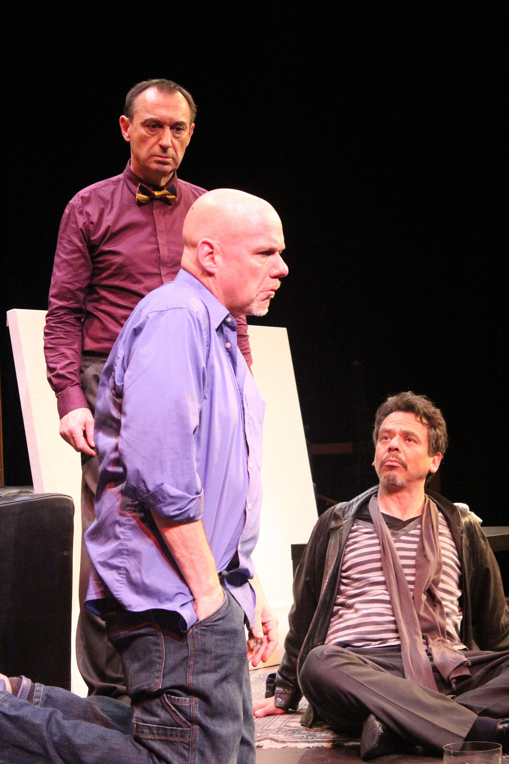 Serge (Robert Marinier) and Marc (David Frisch) turn on Yvan (Andy Massingham) in  'Art'     Photography by Julie Le Gal