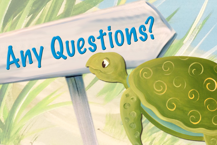 Decorative image of turtle with any questions sign.