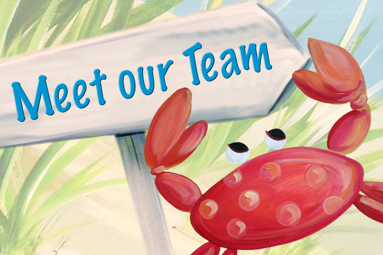 Decorative image of crab with meet our team sign.