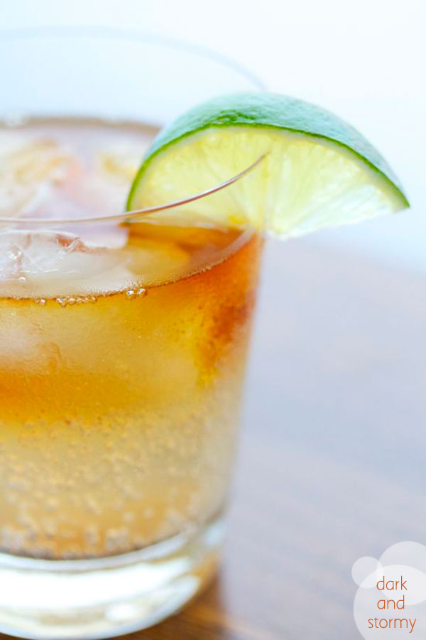 ice // limes, cut into wedges // crystallized ginger (or sugar for the rim)  // ginger beer // dark rum