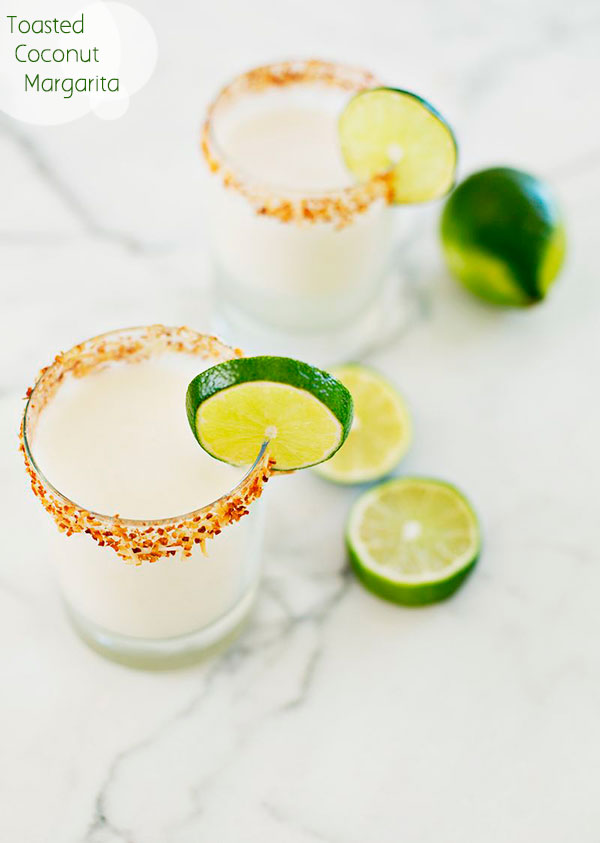via A Beautiful Mess:   1 ounce cream of coconut //   1.5 ounces 1800 Silver Tequila //   1 ounce Cointreau //   3 ounces lime juice //  1 ounce simple syrup // 3 ounces coconut milk // 1 splash half and half // sweetened coconut flakes