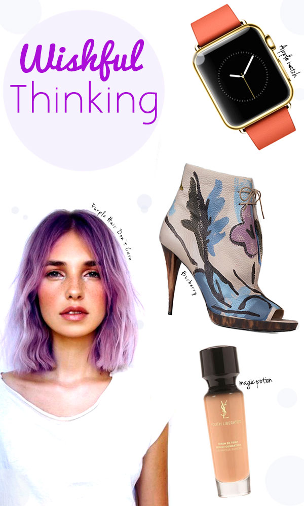 Apple Watch  //   Burberry Hand Painted Leather Ankle Boots  //   YSL Youth Liberator Serum Foundation  // Purple Hair Don't Care