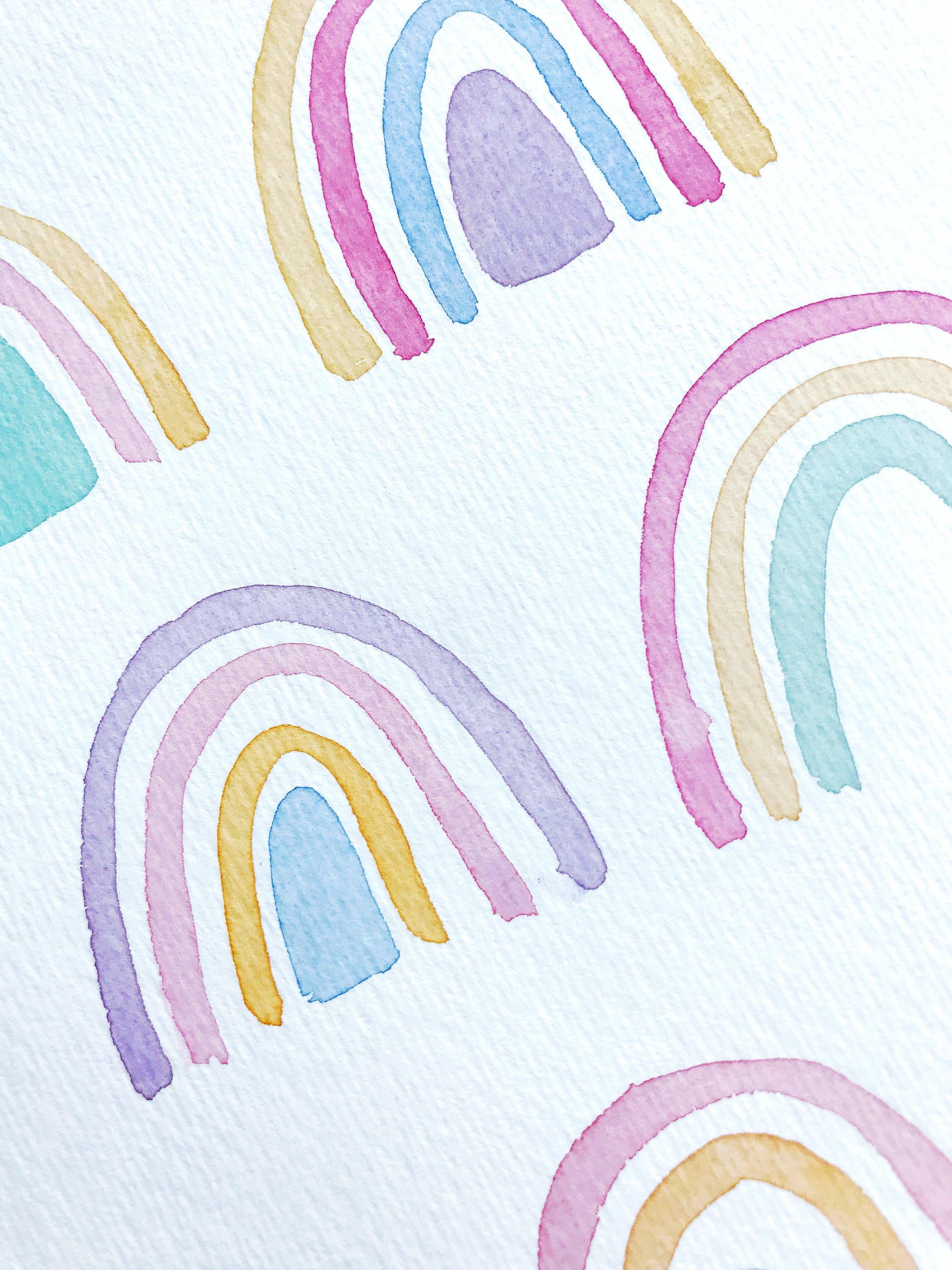 pastel retro rainbow