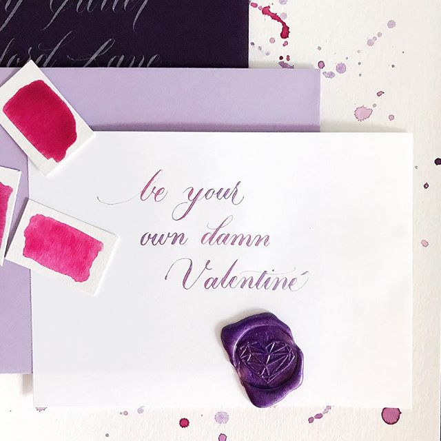 How to get what you really want for Valentine's Day... 💕 . . . . . .#Valentinesday #galentinesday #vdaysucks #purple #funnyvalentine #calligraphy #waxseal #stationery #momboss