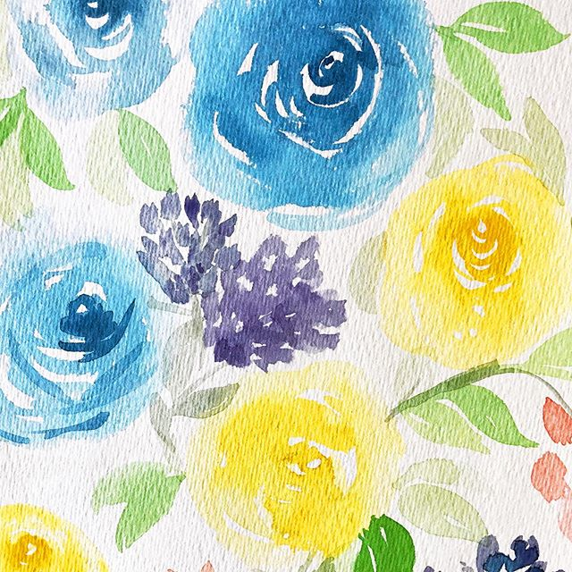 Paint them and they'll last forever. 💐🌺🌼🌸🌷#watercolorflorals #summerflowers . . . . . .#paintedflowers #cardsnob #blueroses #yellowroses #diyart
