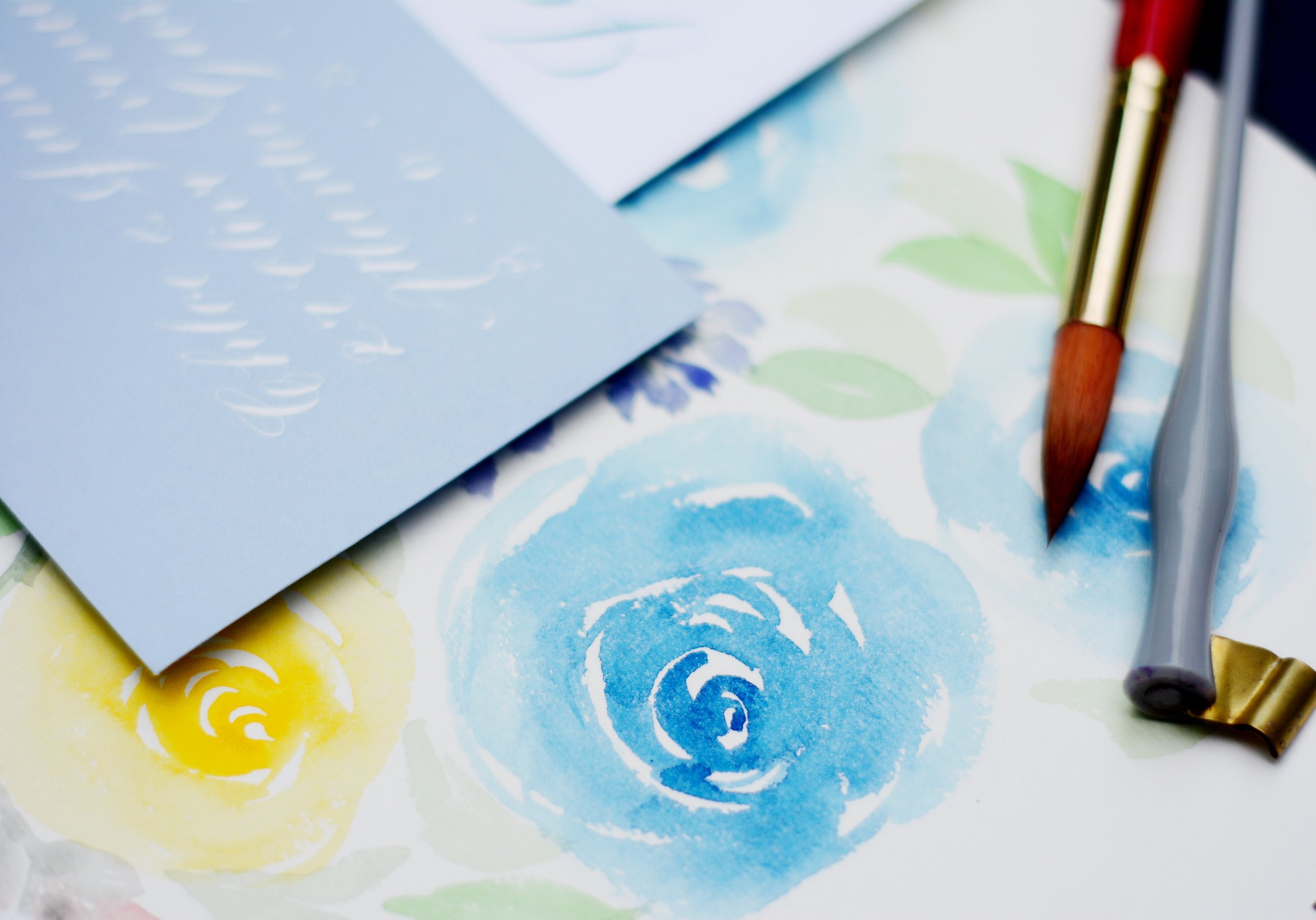 watercolor roses blue yellow