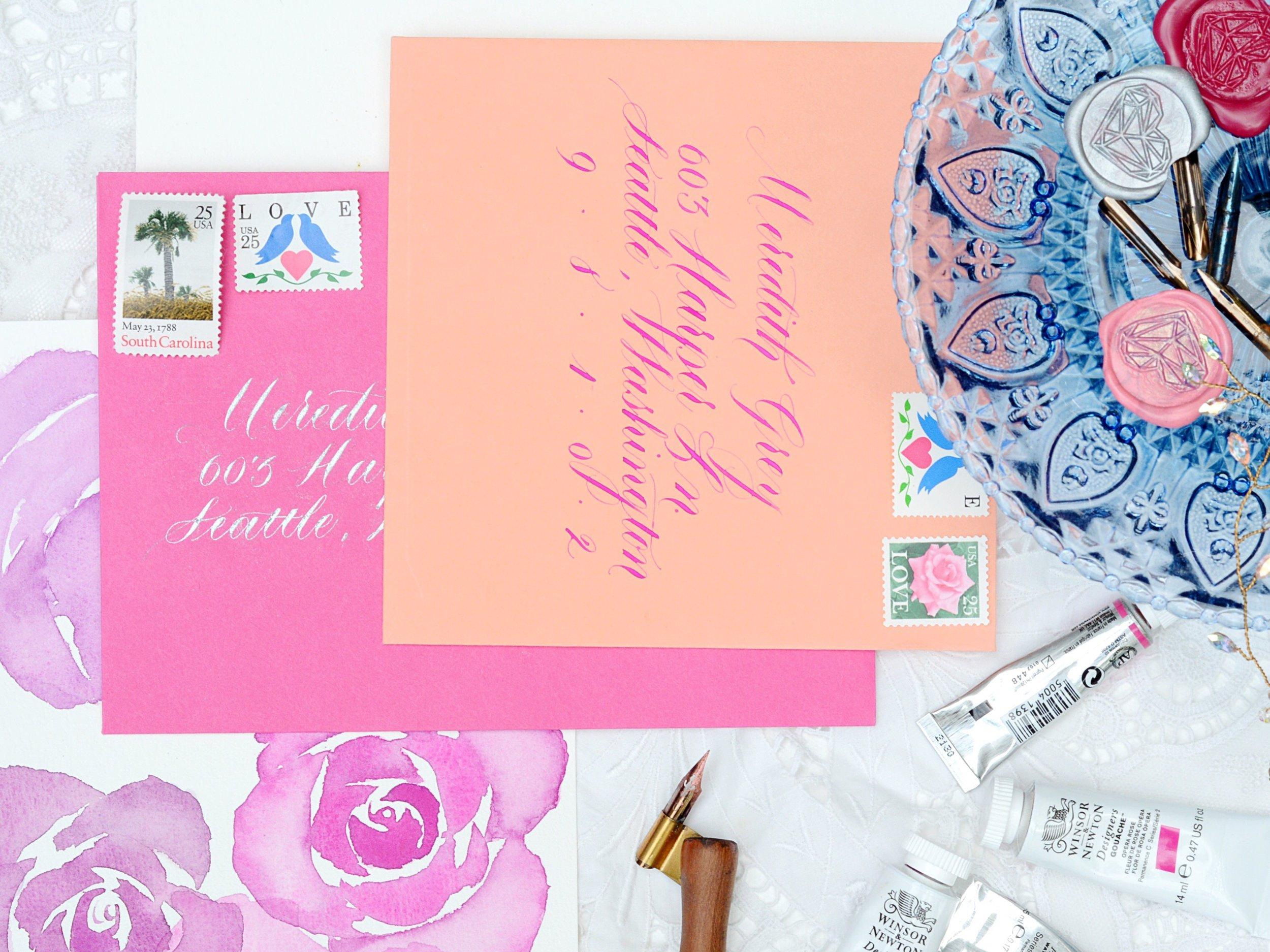 pink orange wedding envelope calligraphy