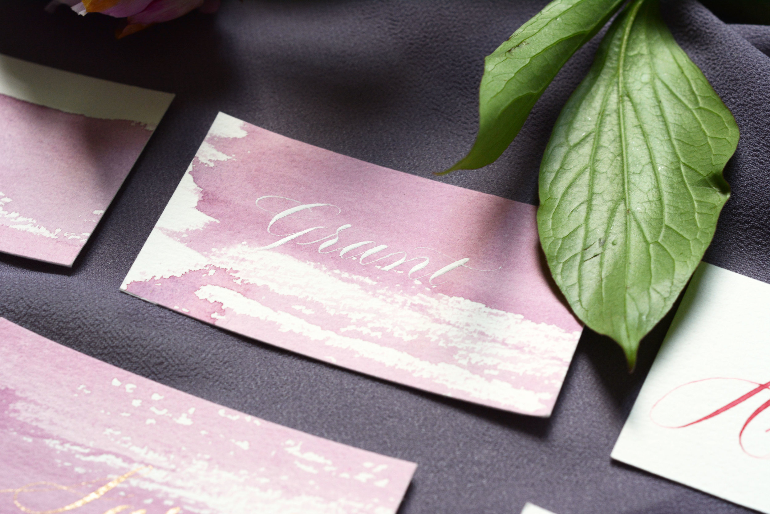 watercolor place cards white ink