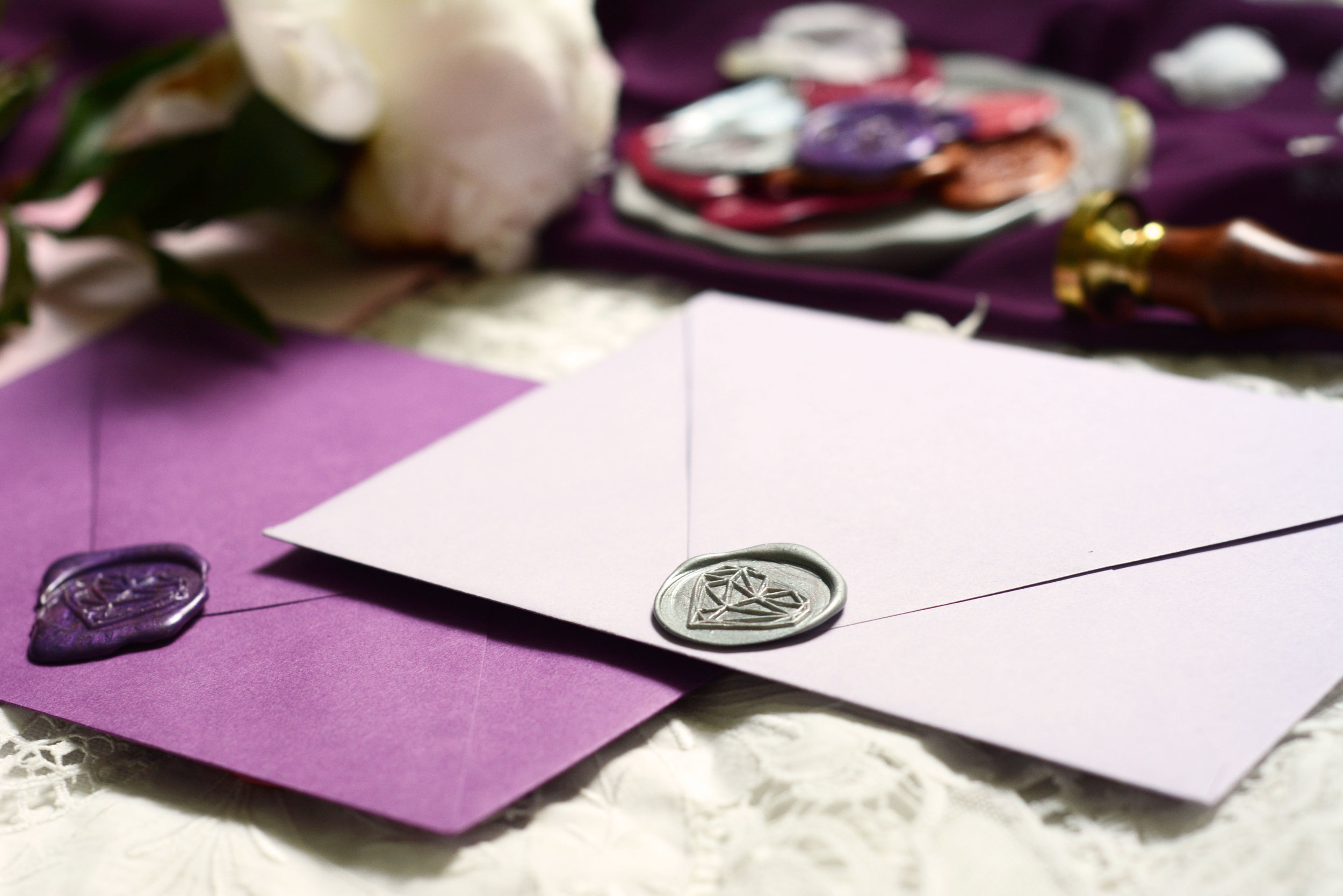 purple and lavender envelopes