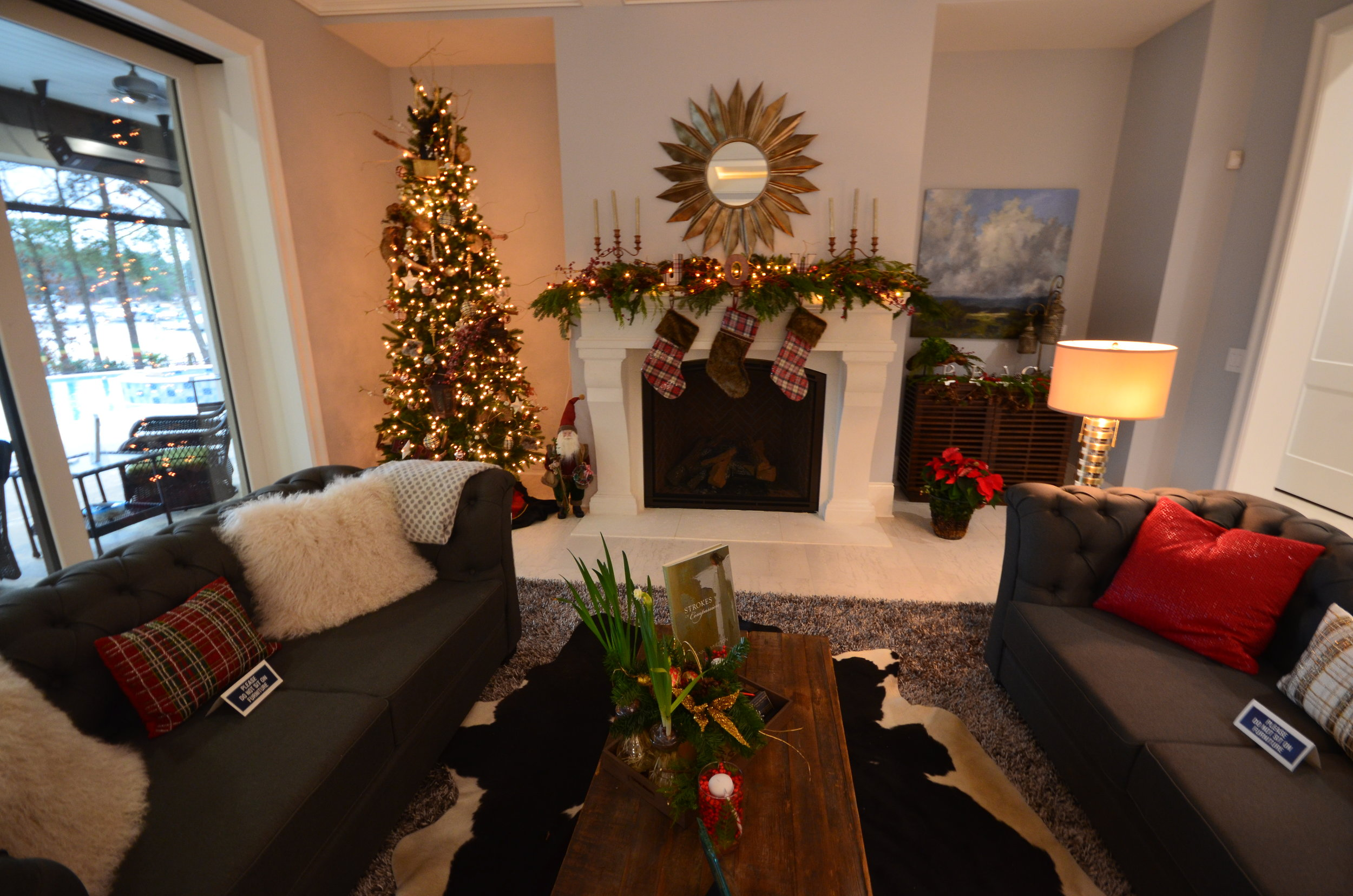 Great room with holiday decor