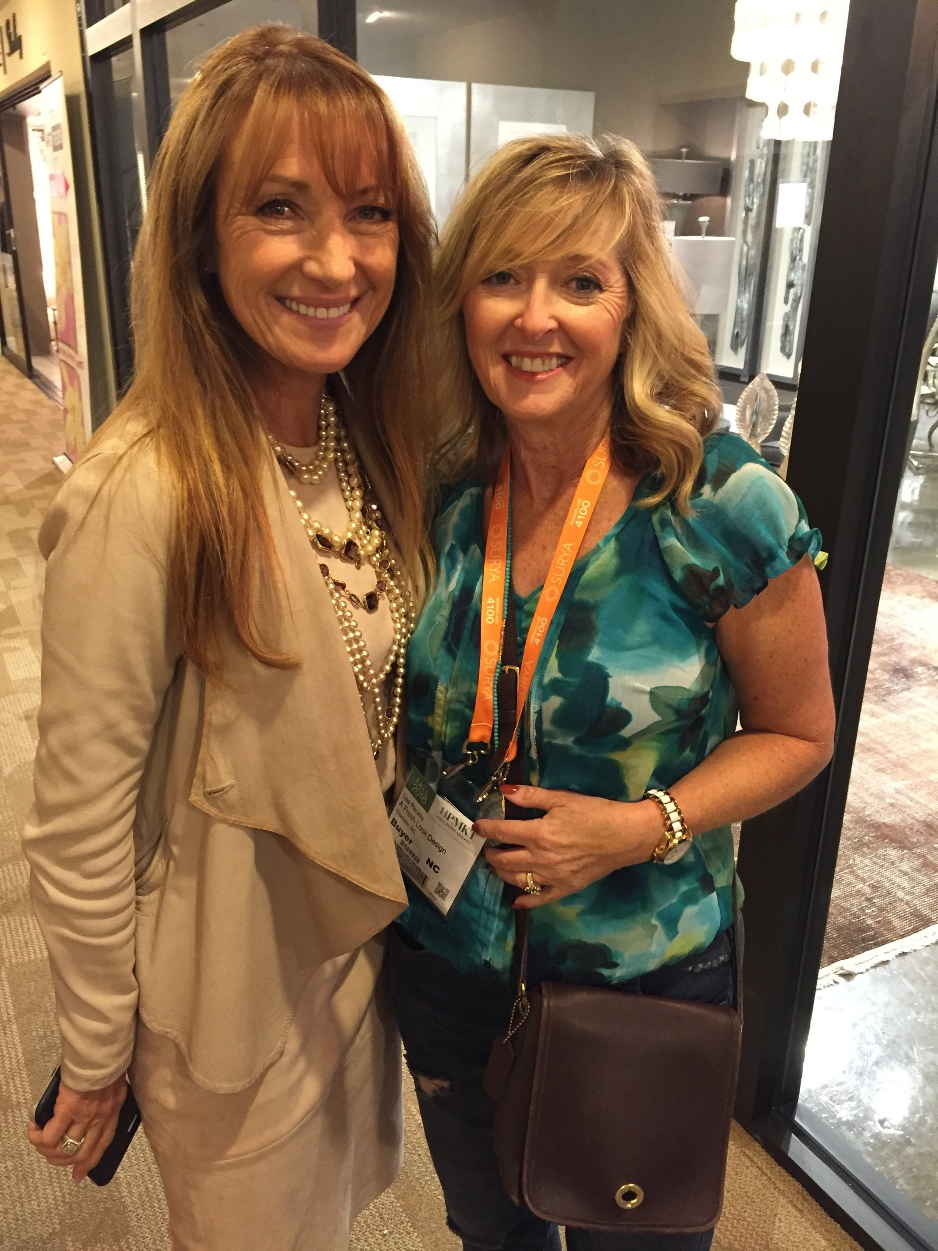 Hanging out with Jane Seymour and discussing her furniture collaboration with Michael Amini and her Style Craft lamps. She was so nice!