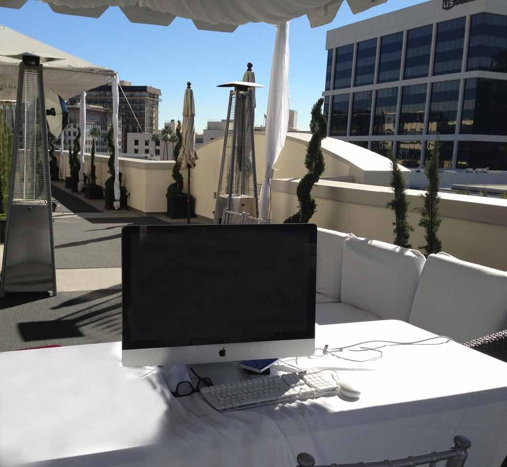 My office for the day on the penthouse of the Luxe Hotel on Rodeo Drive. A beautiful day.