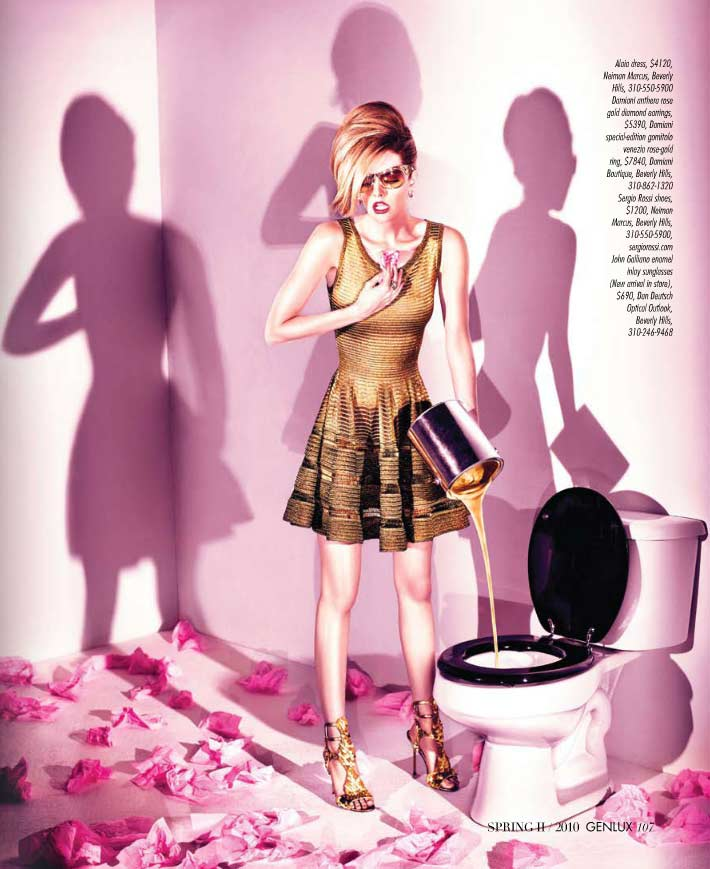 Love this image. My favorite because Lydia looks great. the styling is amazing. The Alaia dress...Galiano glasses...the Sergio Rossi shoes...all great. The hair...perfect. Composition is brilliant.