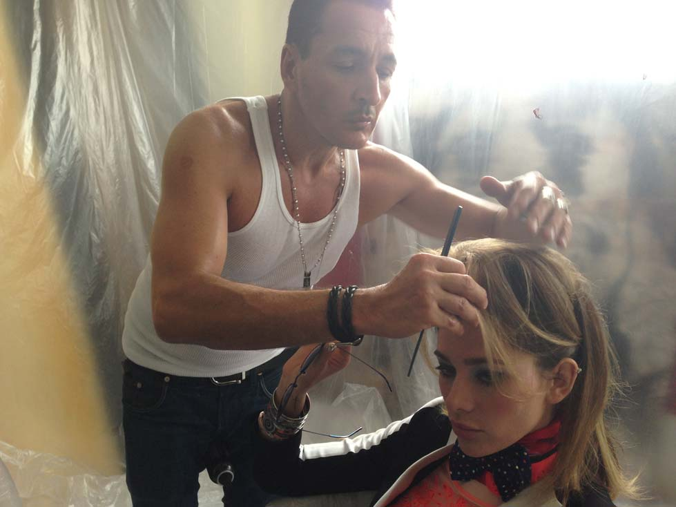 Robert Steinken is doing hair today. I'm really kind of getting sick of seeing him. He also does the hair for Robin Thicke and Paula Patton. Nope, he wouldn't give up any info. His lips were superglued shut. Robert did give me Paula's publicist info to see if we could shoot her. We love Robert!