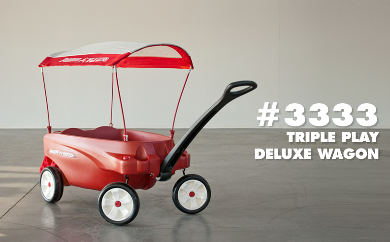 The #3333 Triple Play Deluxe Wagon is a collaborative project completed with the advanced concepts team at Radio Flyer. It is Radio Flyer's largest wagon to date.