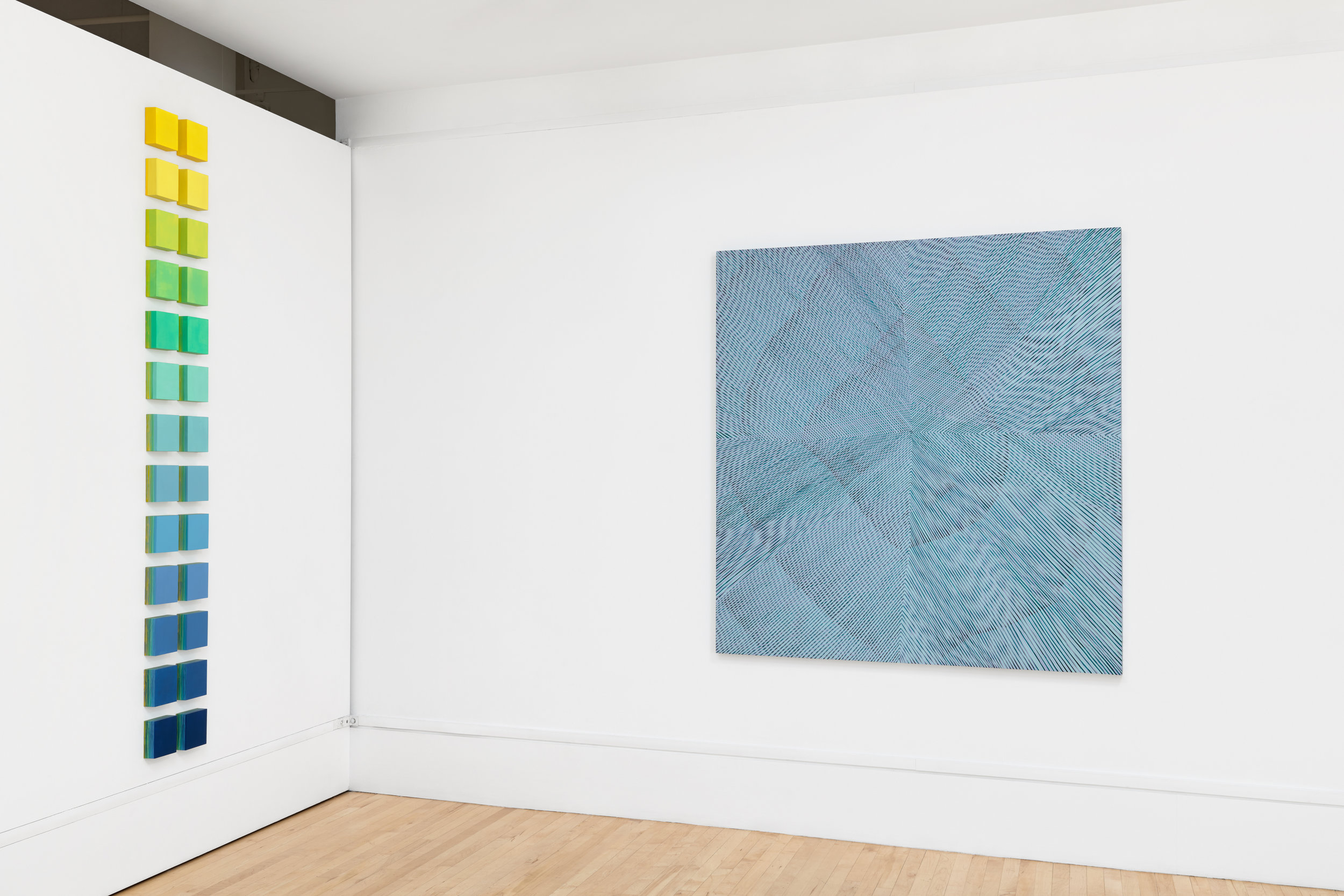 Installation view: About Abstraction: group show with 17 Bay Area Women Artists, 2017.