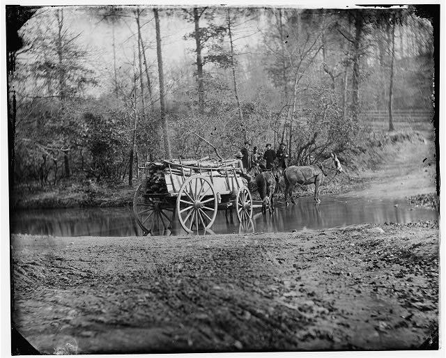 Virginia. Mule team crossing a brook , 1862-1865. Library of Congress.