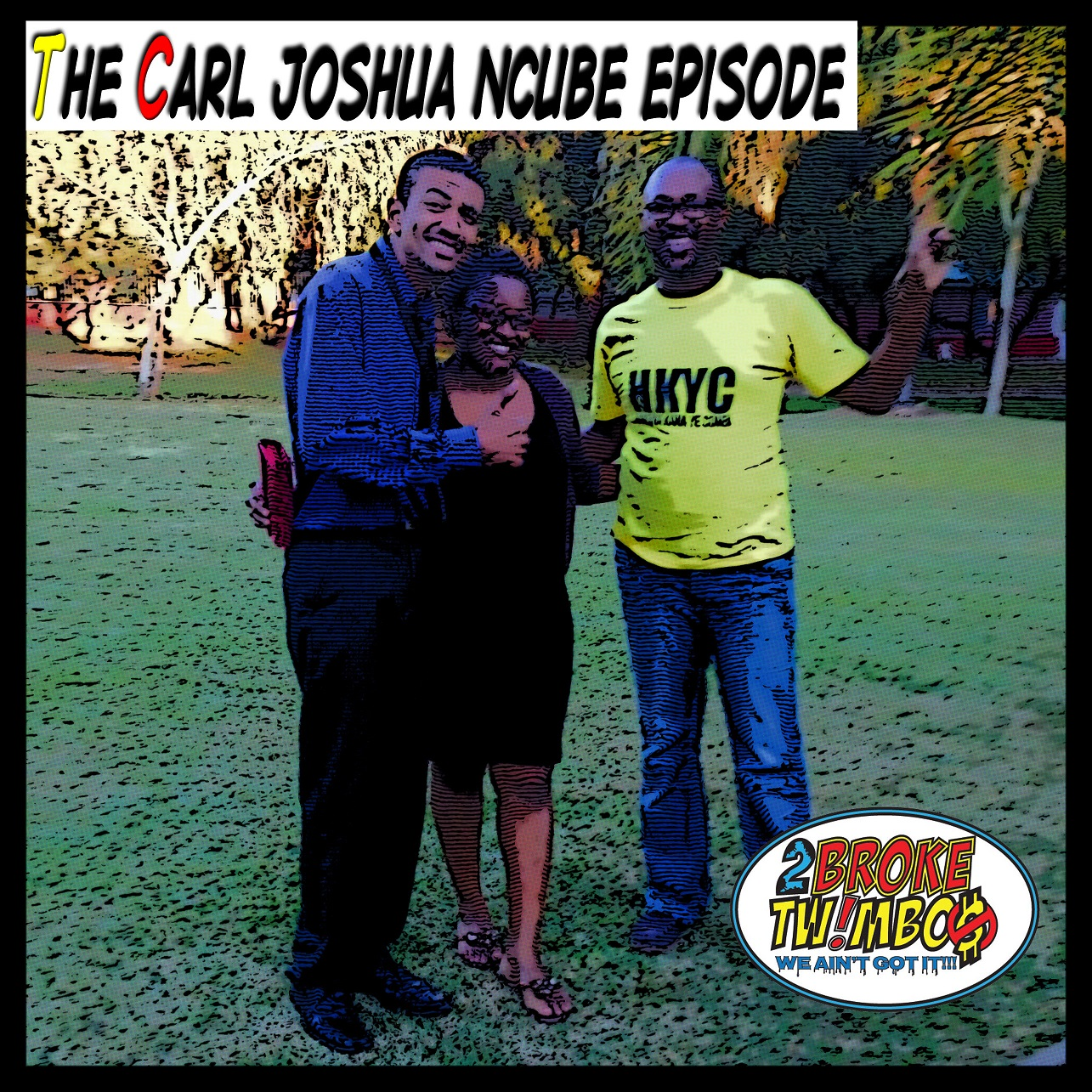 The Harare Gardens pose while holding leaves with Carl Joshua Ncube and his wife Nelsy.