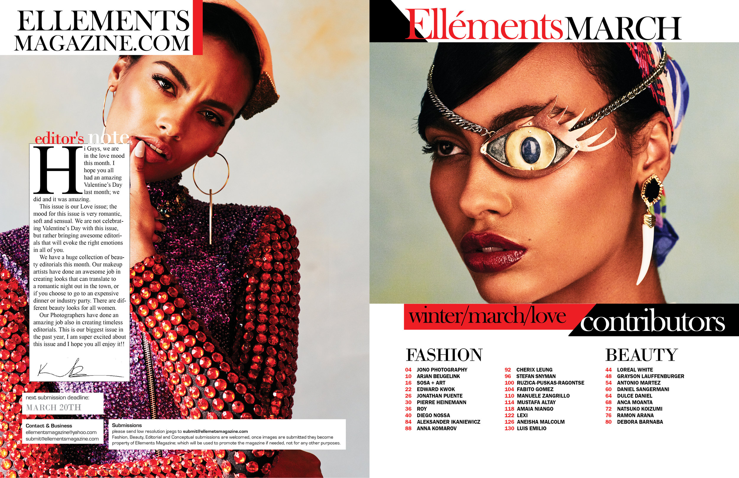 ELLEMENTS - MARCH 2016   COLOUR BLIND beauty editorial by Antonio Martez, New York Fashion Photographer, was featured in the March 2018 edition of Ellements Magazine. The editorial was a 6 page spread for that edition.