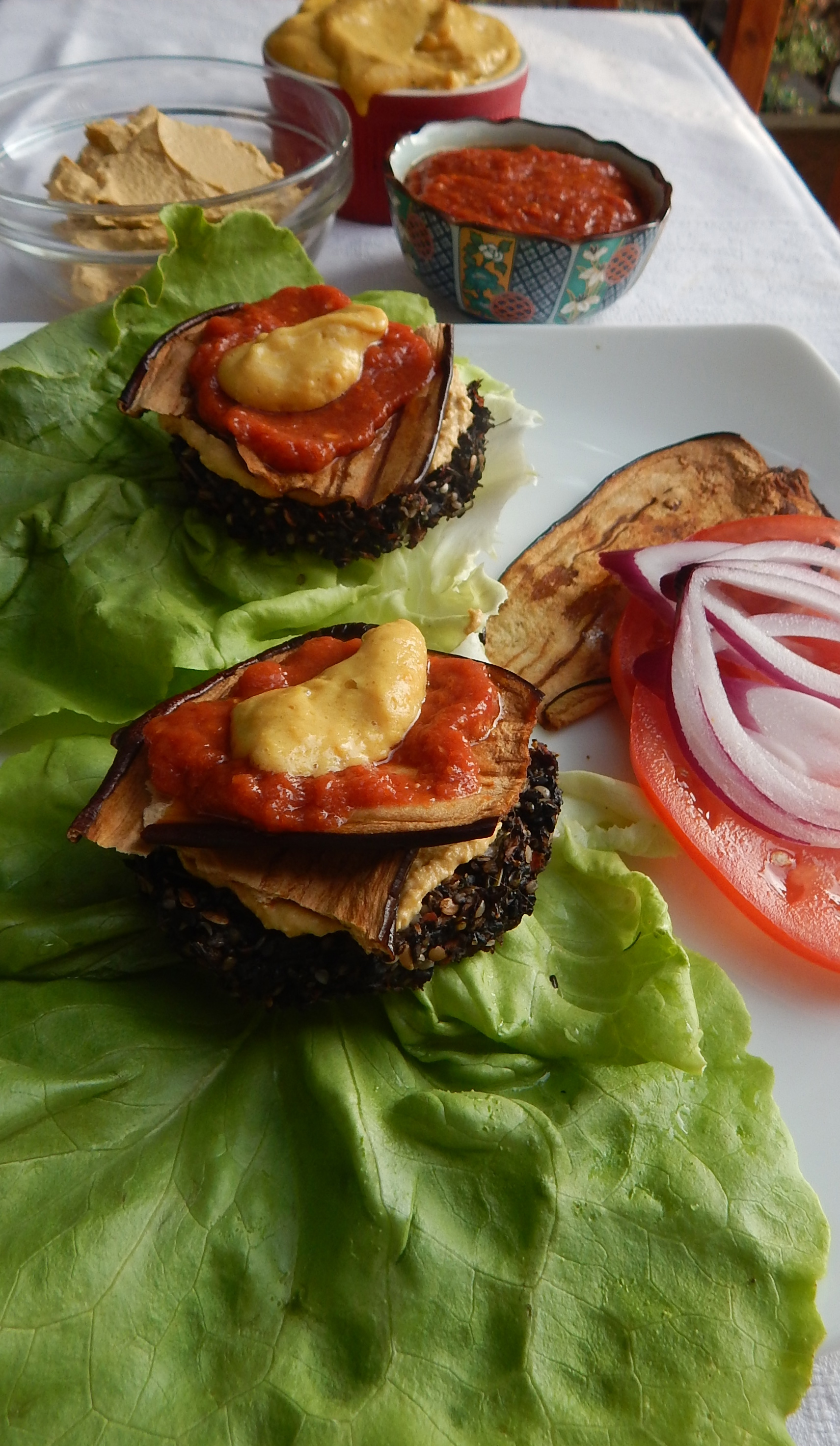 Raw Vegan Burger Deluxe that is on the menu for the retreat! Super delish!