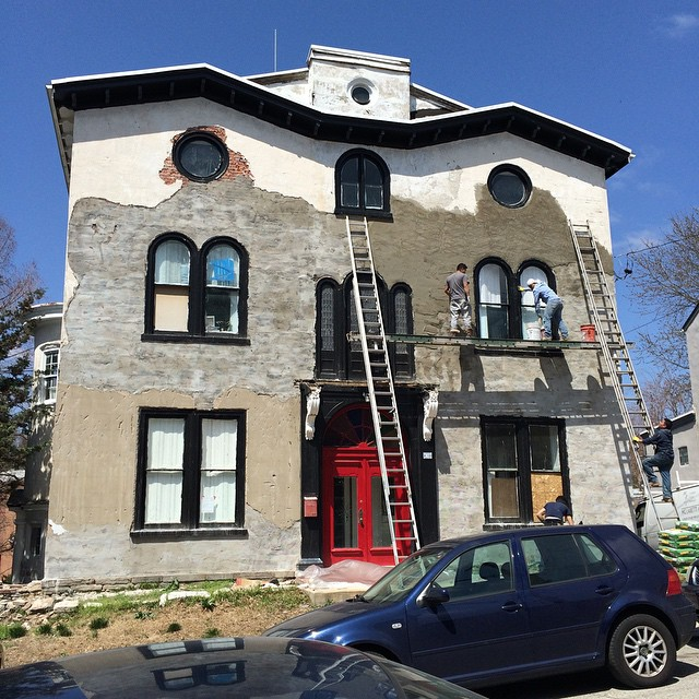 How wonderful! A historic gem in East Falls is getting some love. #restoration #stucco #eastfalls #newlife