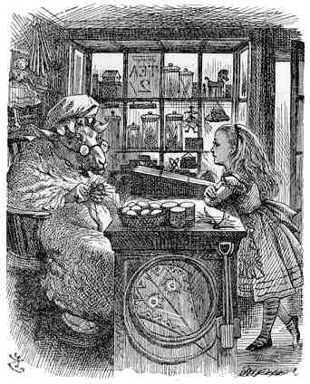 illustration from Lewis Carroll's  Through the Looking Glass, Alice & the Sheep in 'Wool & Water'  shop