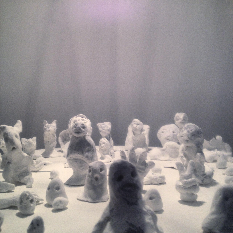 miniature clay monster shrine installation...