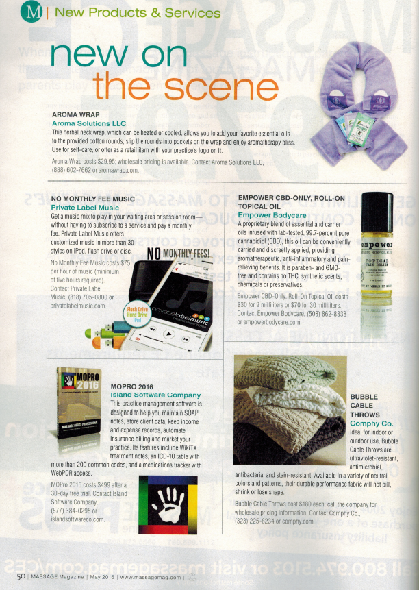 """We are excited to be included in the """"New On the Scene"""" list in Massage Magazine!"""