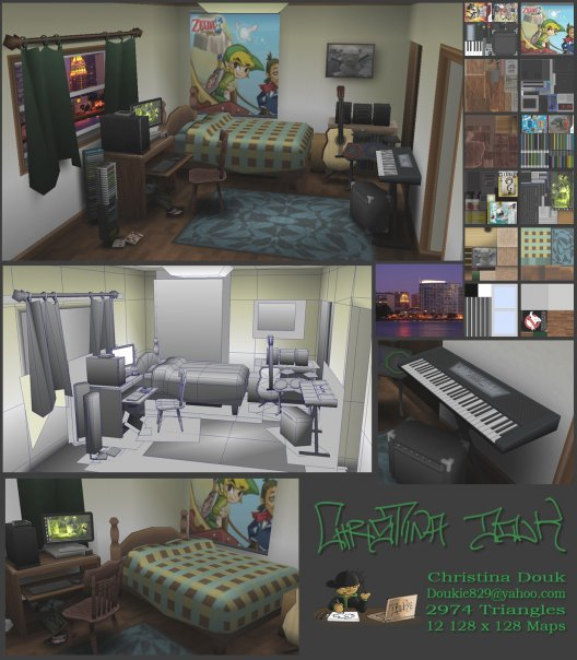 Photo courtesy of Christina Douk: First projects modeling and texturing for games - 2009 (Christina's bedroom)