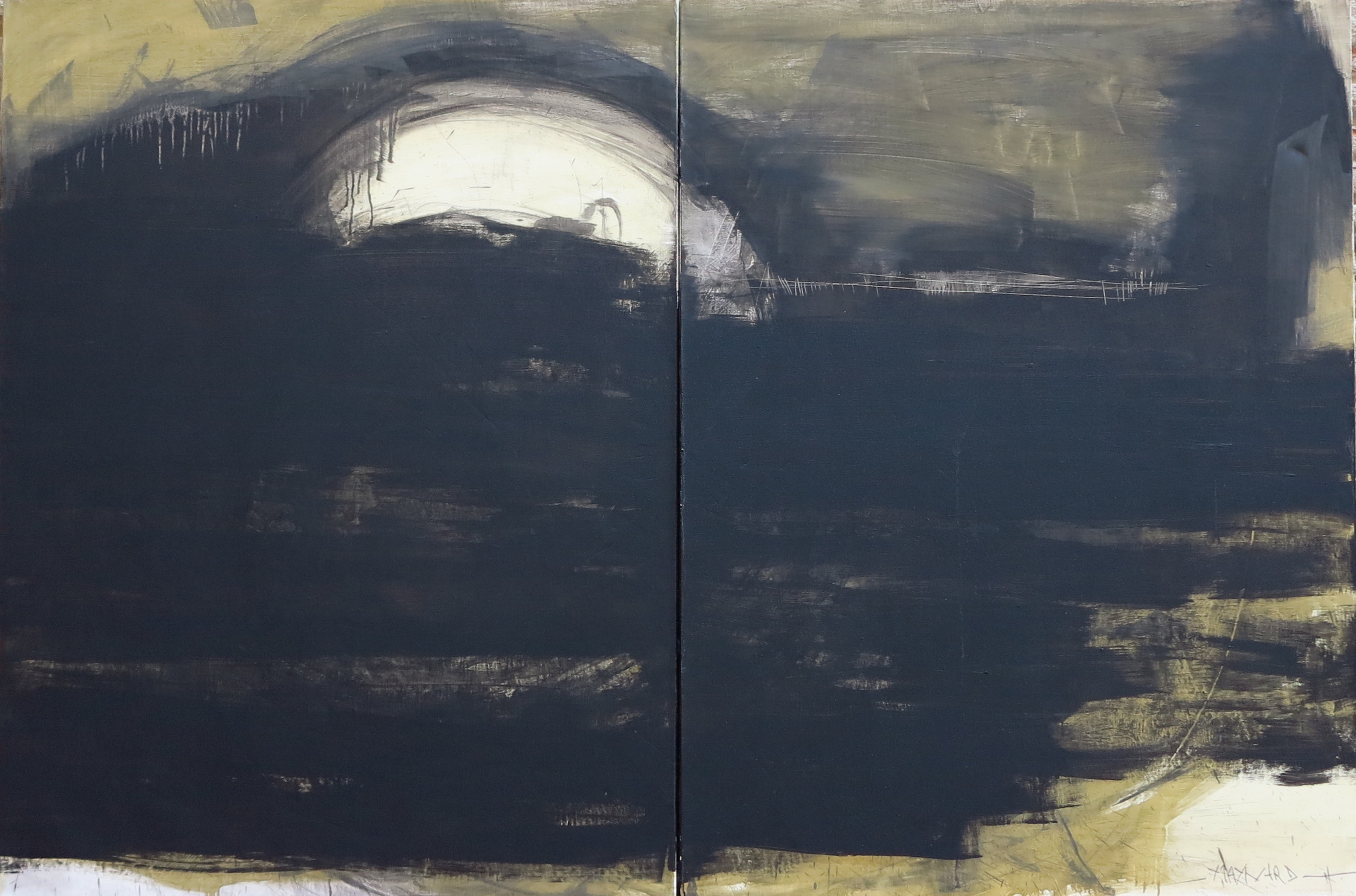 Diptych oil on canvas - size 200 x 130 cm / 79 x 51 inches